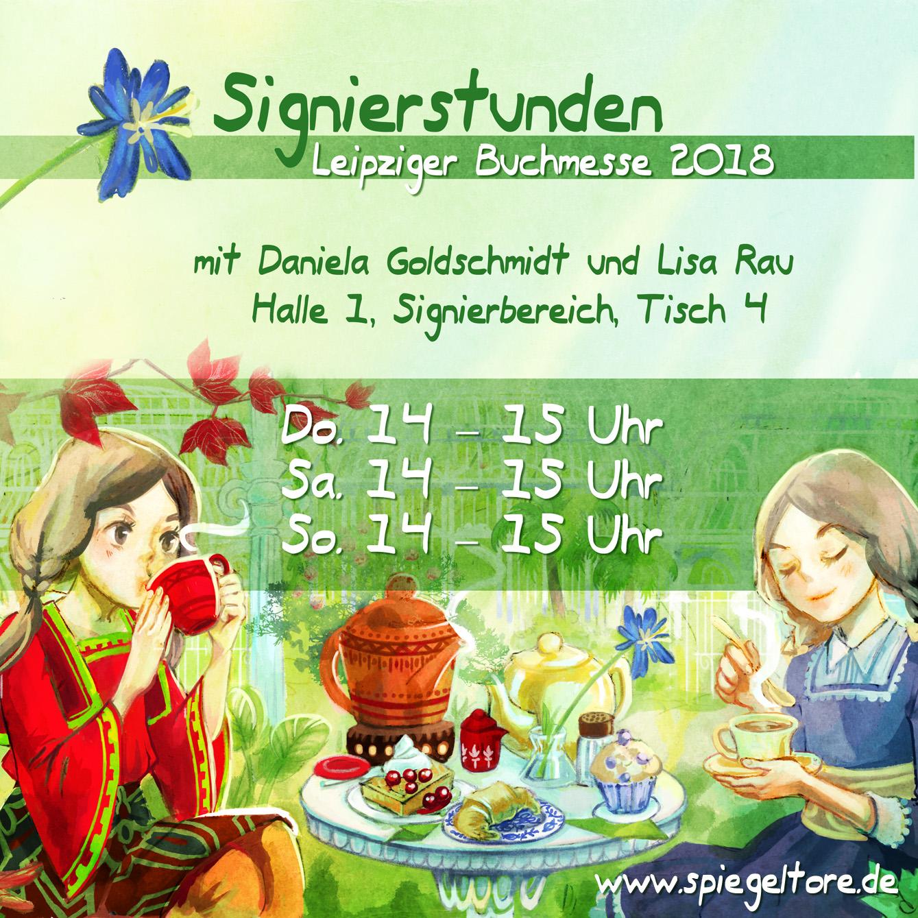 """Signierstunde """"Hael und die Spiegeltore"""" mit Illustratorin Lisa Rau und Autorin Daniela Goldschmidt auf der Leipziger Buchmesse 2018."""